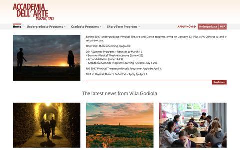 Screenshot of Home Page dellarte.it - Accademia dell'Arte | European Theatre, Vocal Arts and Dance - captured March 9, 2017