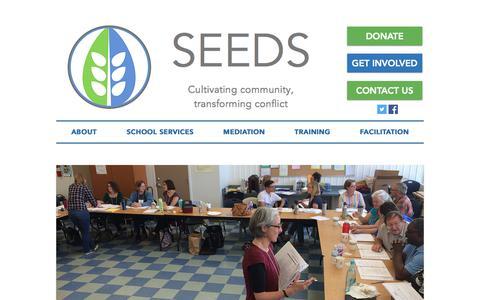 Screenshot of Home Page seedscrc.org - SEEDS Community Resolution Center - captured Sept. 30, 2018