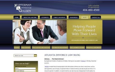 Screenshot of Blog kgfamilylaw.com - Atlanta Divorce Law Blog | Fulton County Child Support Lawyers | Georgia Custody & Visitation Law Firm - captured Oct. 6, 2014