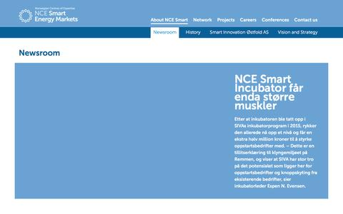 Screenshot of Press Page ncesmart.com - Newsroom - NCE Smart Energy Markets - captured Feb. 11, 2016