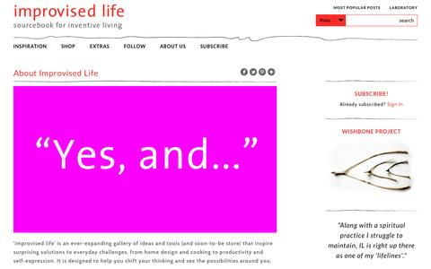 Screenshot of About Page improvisedlife.com - About Improvised Life - Improvised Life - captured Oct. 30, 2014