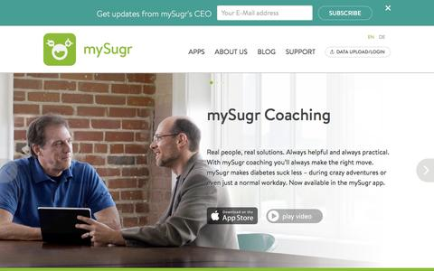 Screenshot of Home Page mysugr.com - mySugr.com - captured Nov. 19, 2016
