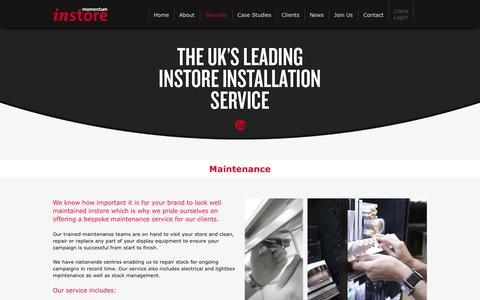 Screenshot of Services Page momentuminstore.com - Services |        Momentum Instore - captured Oct. 7, 2014
