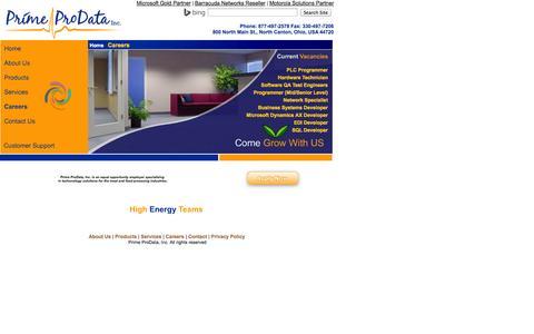 Screenshot of Jobs Page primepro.com - Prime ProData, Inc. Career Opportunities - captured Oct. 3, 2014