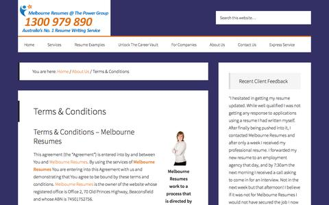 Screenshot of Terms Page melbourneresumes.com.au - Terms & Conditions - Melbourne Resumes, Australia's Best Resume Writing Services. 100% Satisfaction Guarantee. - captured Oct. 27, 2014