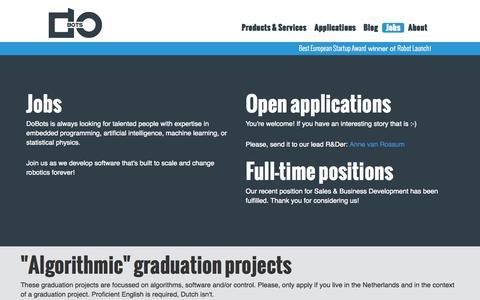 Screenshot of Jobs Page dobots.nl - DoBots | Jobs - captured Oct. 5, 2014