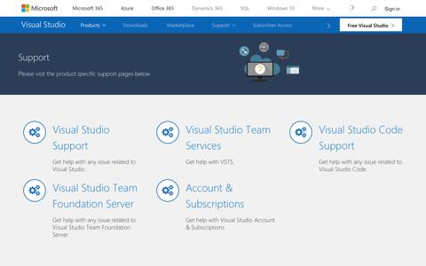 Screenshot of Contact Page microsoft.com - Support Overview | Visual Studio - captured June 22, 2018