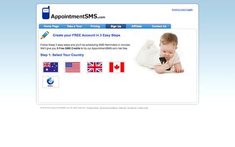 Screenshot of Signup Page appointmentsms.com - Sign up to AppointmentSMS.com For Free - captured Oct. 4, 2014