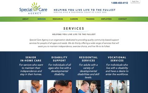 Screenshot of Services Page specialcareagency.com - Special Care Agency | SERVICES - captured June 19, 2017