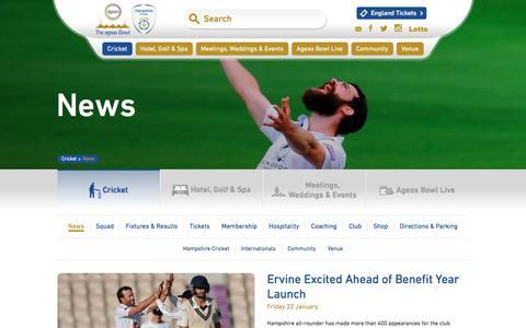 Screenshot of Press Page ageasbowl.com - News | Hampshire Cricket & The Ageas Bowl · The Ageas Bowl - captured Jan. 25, 2016