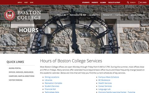 Screenshot of Hours Page bc.edu - Hours - Resources - Boston College - captured Aug. 22, 2016