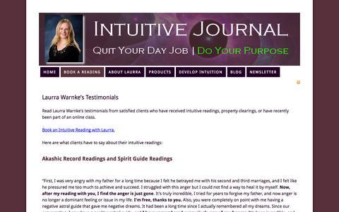 Screenshot of Testimonials Page intuitivejournal.com - Laura Warnke's Testimonials — Intuitive Journal - captured Oct. 31, 2014