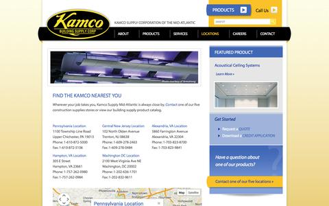 Screenshot of Locations Page kamcosupply.com - Building / Construction Supplies Store Locations - PA, NJ, MD, VA, Washington DC - captured Oct. 10, 2014