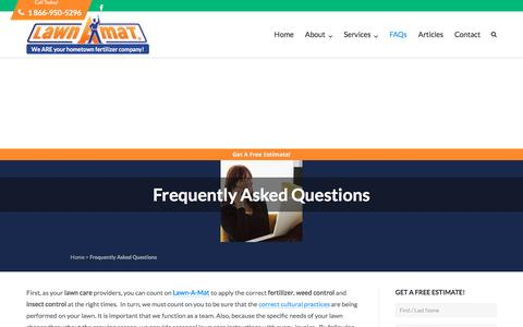 Screenshot of FAQ Page lawnamat.net - Frequently Asked Questions - Lawn-A-Mat Lawn Care - captured May 15, 2017