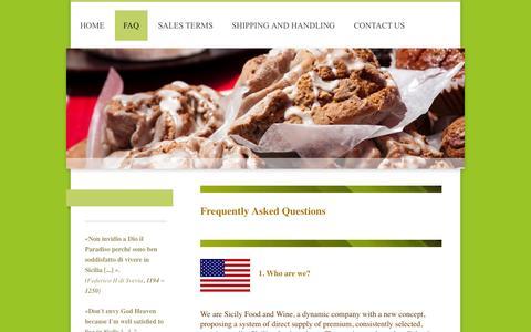 Screenshot of FAQ Page sicilyfoodandwine.com - Sicily Food and Wine - FAQ - captured Oct. 9, 2014