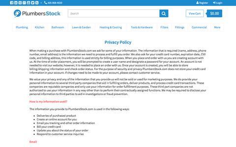 Screenshot of Privacy Page plumbersstock.com - Privacy Policy | PlumbersStock - captured Jan. 25, 2016