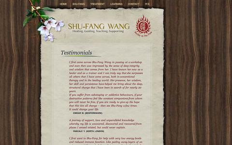 Screenshot of Testimonials Page shufangwang.net - Shu-Fang Wang | Healer - captured Oct. 4, 2014