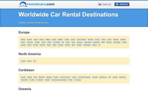 Screenshot of Locations Page rentalcars.com - Worldwide Car Rental Destinations - rentalcars.com - captured Sept. 19, 2014