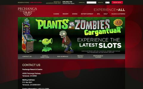 Screenshot of Contact Page pechanga.com - Contact Us - Pechanga Resort & Casino - captured Sept. 19, 2014