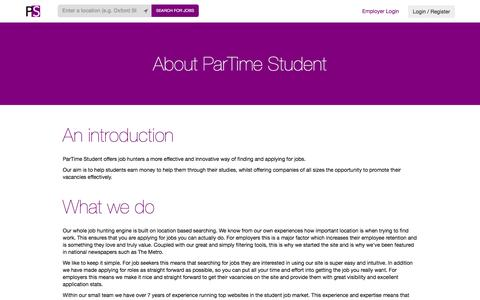 Screenshot of About Page partimestudent.com - ParTime Student - Search for jobs near you and apply now - captured Dec. 7, 2015