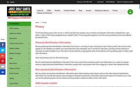 Screenshot of Privacy Page justgolfcarts.com - Just Golf Carts Privacy Policy - captured Sept. 20, 2018