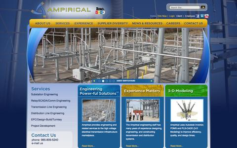 Screenshot of Home Page ampirical.com - Ampirical Solutions | Providing  comprehensive customer support from project conception to design engineering - captured Sept. 30, 2014