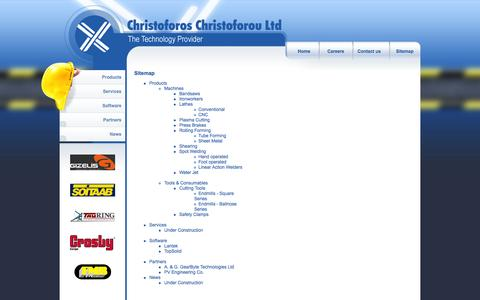 Screenshot of Site Map Page promactec.com - Christoforos Christoforou Ltd - machine supplier, industrial equipment and machinery, CNC, pneumatics, tools, consumables, automation, industrial supplies, services and support all over Cyprus - captured Oct. 2, 2014