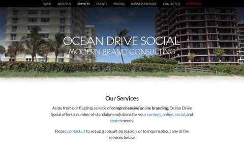 Screenshot of Services Page oceandrivesocial.com - Social Media and Online Management @ Ocean Drive Social - captured Oct. 19, 2018