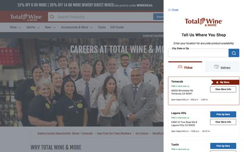 Screenshot of Jobs Page totalwine.com - Careers at Total Wine & More - captured June 26, 2019