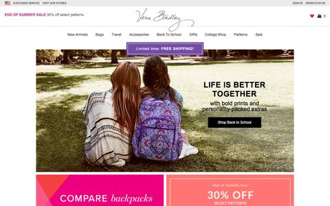 Screenshot of Home Page verabradley.com - Bags, Handbags, Purses, Backpacks | Vera Bradley - captured Aug. 18, 2016