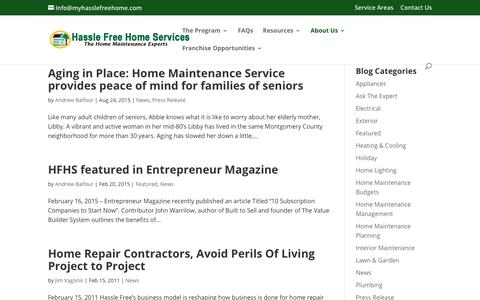 Screenshot of Press Page myhasslefreehome.com - News Archives | Hassle Free Home Services - captured Sept. 27, 2018