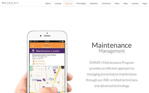 Screenshot of Services Page emkay.com - Vehicle Fleet Maintenance Management | Emkay - captured Oct. 9, 2016
