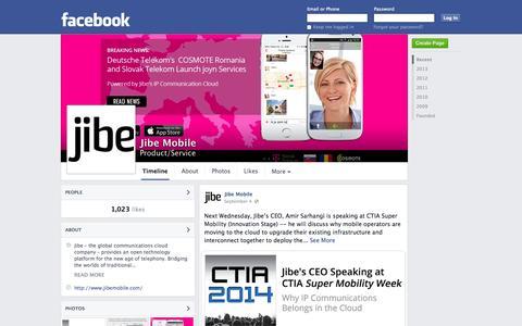 Screenshot of Facebook Page facebook.com - Jibe Mobile | Facebook - captured Oct. 22, 2014