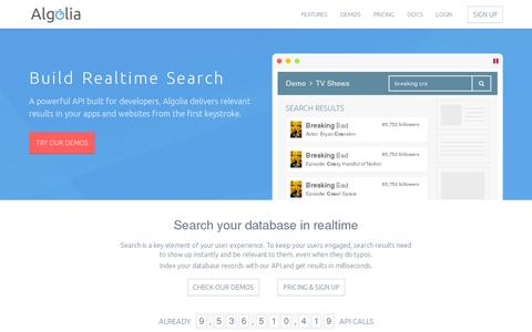 Screenshot of Home Page algolia.com - Algolia | Hosted cloud search as a service | AlgoliaSearch - captured July 11, 2014
