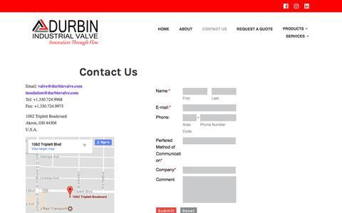 Screenshot of Contact Page durbinvalve.com - Contact Us – Durbin Industrial Valve Inc. - captured Oct. 13, 2017