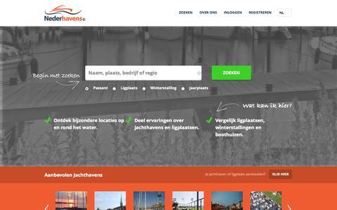 Screenshot of Home Page nederhavens.nl - Vergelijk jachthavens en ligplaatsen en ontdek nieuwe bestemmingen | Nederhavens - captured Oct. 7, 2014