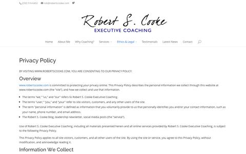 Screenshot of Privacy Page robertscooke.com - Privacy Policy - Robert S. Cooke Executive Coaching - captured Oct. 9, 2014