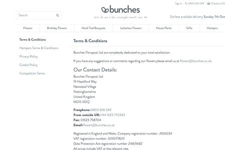 Screenshot of Terms Page bunches.co.uk - Terms and Conditions, Privacy, and Cookie Policy | Bunches - captured Oct. 6, 2018