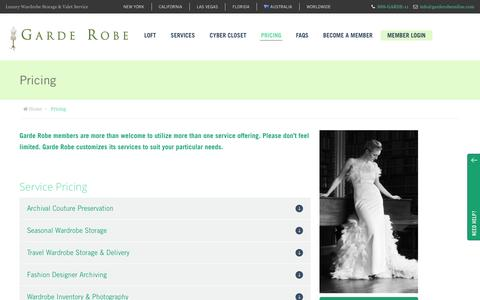 Screenshot of Pricing Page garderobeonline.com - Pricing - Garde Robe - captured Dec. 7, 2015
