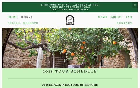 Screenshot of Hours Page undergroundgardens.com - Hours — Forestiere Underground Gardens - captured July 3, 2018
