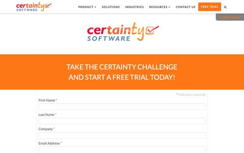 Screenshot of Trial Page certaintysoftware.com - Take the Certainty Challenge and Start a Free Trial Today! - captured Nov. 1, 2018