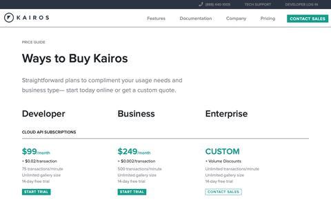 Screenshot of Pricing Page imrsv.com - Kairos Face Recognition Pricing - captured Nov. 4, 2018