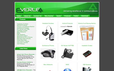 Screenshot of Products Page everlea.co.nz - - Artech, phones, headsets, voice recorder, pbx, ... - Everlea Group Limited - captured Oct. 3, 2014