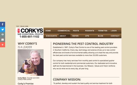 Screenshot of About Page corkyspest.com - Corky's Pest Control | About Us - captured Nov. 5, 2016