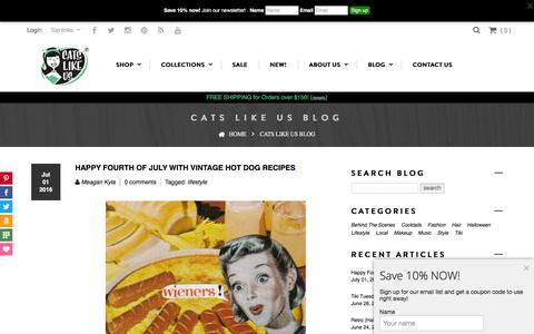 Screenshot of Blog catslikeus.com - Blog - Retro fashion, lifestyle, culture, food, and cocktail recipes – Cats Like Us - captured July 11, 2016