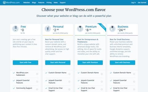 Screenshot of Pricing Page wordpress.com - WordPress.com Plans   WordPress.com Store - captured March 4, 2017
