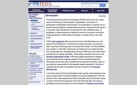 Screenshot of Developers Page phfa.org - Developers - captured Sept. 19, 2014