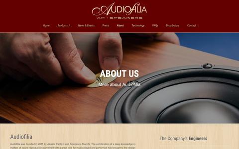 Screenshot of About Page af-speakers.com - Audiofilia - AF-Speakers, High-end Loudspeakers - captured Feb. 6, 2016