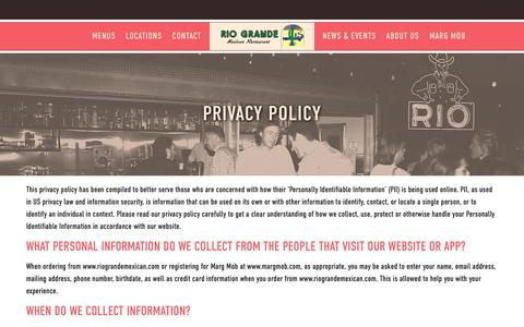 Screenshot of Privacy Page riograndemexican.com - Privacy Policy | Rio Grande Mexican Restaurant - captured Oct. 19, 2018