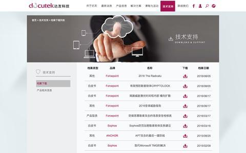 Screenshot of Support Page docutek.com.cn - 档案下载列表   达�科技 Docutek Solutons,Inc. - captured Jan. 26, 2017